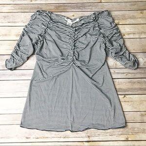 Max Studio gray white striped ruched top Sz L